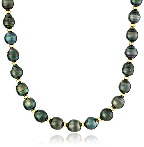 18k Yellow Gold Plated Silver 8-10mm Rondelle Black Baroque Tahitian Cultured Pearl Strand, 18'' by Amazon Collection
