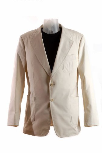 Gucci Mens Button Front Textured Cotton Sports Blazer Jacket, Tan