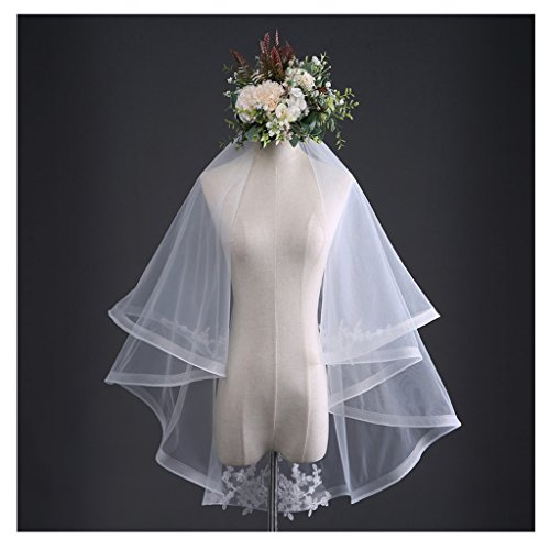 Colorful House Women's White Wedding Bridal Veils Elegant Lace Tulle Sheer
