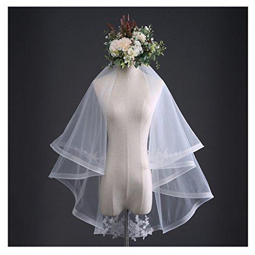 Colorful House Women's White Wedding Bridal Veils Elegant Lace Tulle Sheer