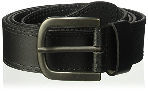 Dickies 100% Leather Jeans Belt with Stitch Design and Prong Buckle, Black, 46