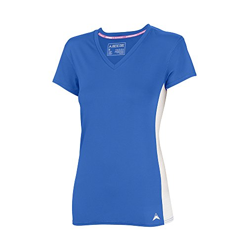 Arctic Cool Women's V-Neck Instant Cooling Shirt with Mesh Side Panels , Polar Blue, XXXL