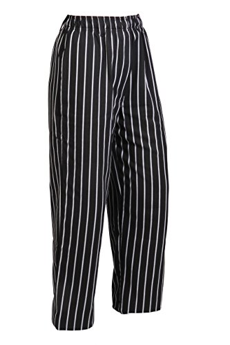 (Mercer Culinary M60030BCS1X Millennia Men's Black Cook Pants with White Chalk Stripe, X-Large)