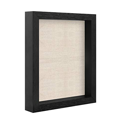 8x10 Shadow Box Frame Black Display Case for Pins,Medals,Pictures,Photos - Wall Mount and Tabletop Display, Wood Memory Box