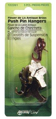 (Hillman Push Pin Hangers Antique Brass Card)