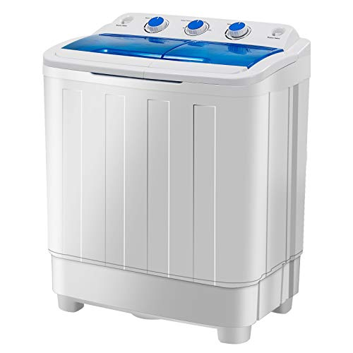 Portable Washing Machine, KUPPET 17lbs Compact Twin Tub Washer and Spin Dryer Combo for Apartment, Dorms, RVs, Camping and More, White&Blue