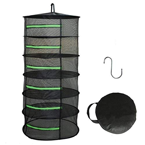 Herb Drying Rack Net Dryer 6 Layer 2ft Black W/Green Zippers Mesh Hydroponics