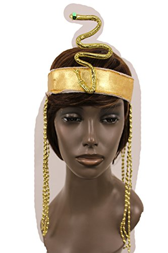 Punk Rock Costumes Party City (TFJ Women Head Piece Forehead Halloween Gold Sequins Elastic Band Queen Cleopatra Snake Charm Party Long Beads Fringes Sexy Hair)