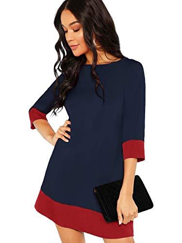 Floerns Women's 3/4 Sleeve Colorblock Casual Shift Tunic Dress Navy -