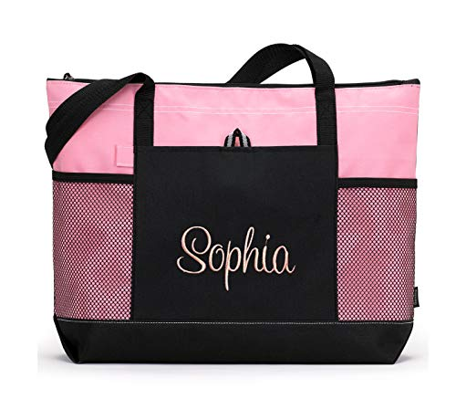 Personalized Tote Monogrammed Beach Bag Premium Zippered with Mesh Pockets (Pink)