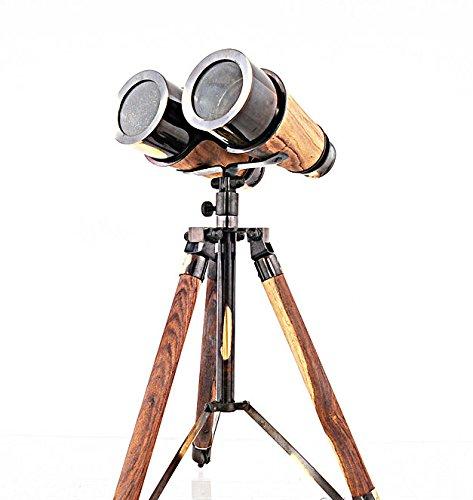 Wooden Brass Binocular on Stands 2 Tone by OM001