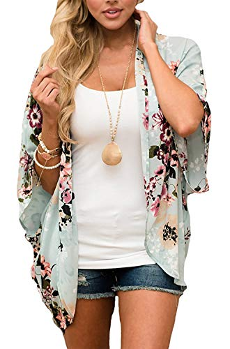 GSVIBK Womens Floral Print Kimono Loose Lace Chiffon Cardigan 3/4 Puff Sleeve Lace Patchwork Cardigans 216 Green - Cardigan Sleeve Print 3/4