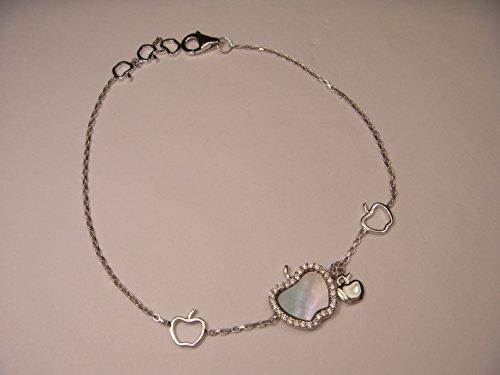 Gorgeous 14K White Gold Diamond Mop Apple Link Bracelet