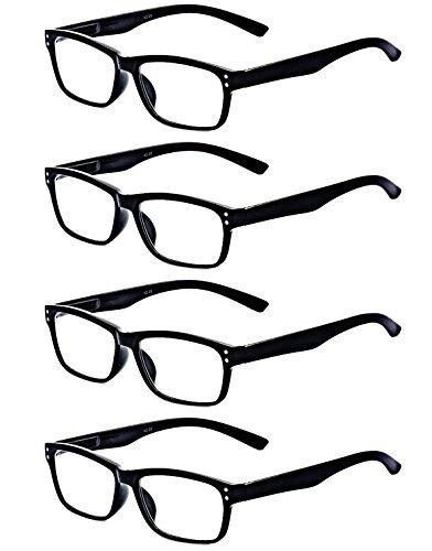 ALWAYSUV 4 Pack With Spring Hinges Rectangular Black Frame Reading Glasses 3.75