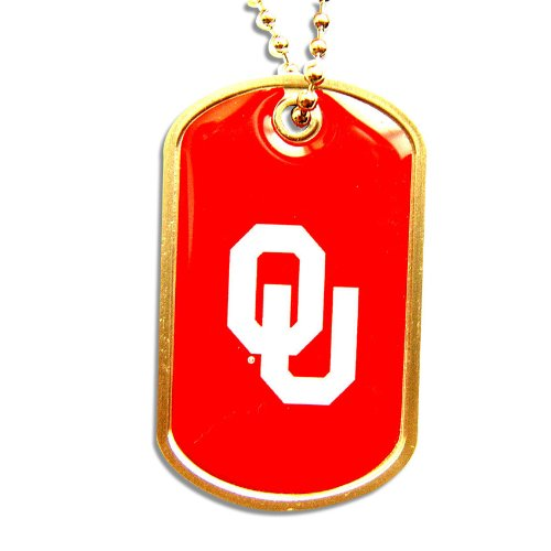 NCAA Oklahoma Sooners Dog Sports Collegiate Team Logo Tag Domed Necklace Charm Chain