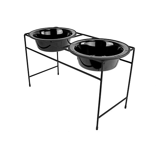 Platinum Pets Double Diner Feeder with Stainless Steel Dog Bowls, 3.5 cup/28 oz, Midnight (Stainless Steel Diners)