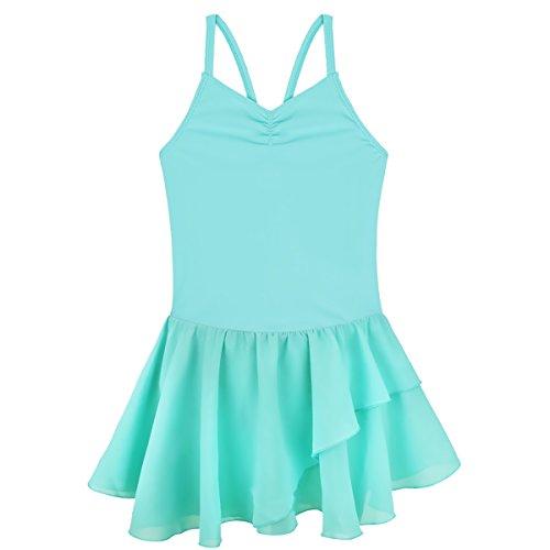 Turquoise Ruffled (CHICTRY Kids Girls Basic Camisole Ballet Dress Tutu Chiffon Ruffled Gymnastics Leotard Skirt Turquoise 7-8)