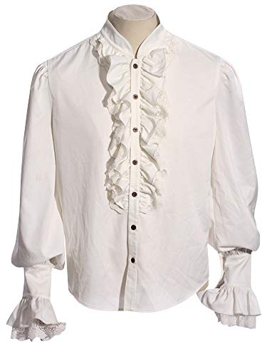 Sysea Mens Medieval Poet's Pirate Captain Charles Vane Cosplay Costume Shirt