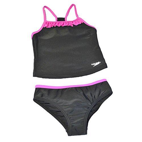 Girls 2 Piece Tankini - Speedo Girls Racerback 2-Piece Tankini Swimsuit (12, Speedo Black/Pink Ruffle)