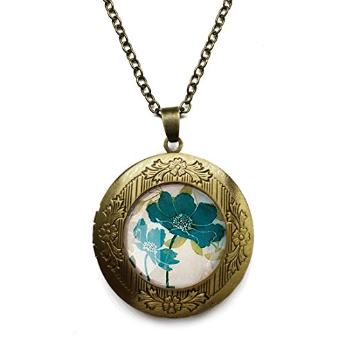 Vintage Bronze Tone Locket Picture Pendant Necklace Cameo Round Flowers Included Free Brass Chain Gifts Personalized