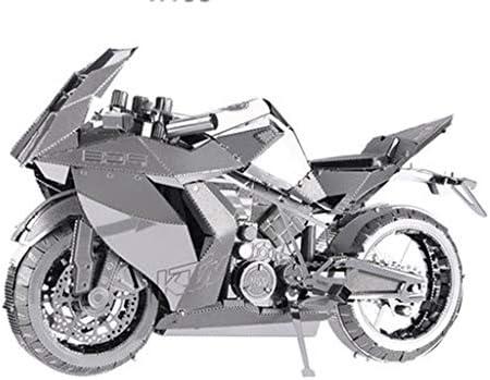 3D金属モデルキットパズルジグソーパズルDIYモデルオートバイ青/銀組み立て14+ (Color : Silver)