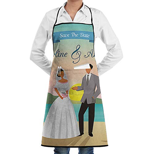 Beach Wedding Save The Date Adjustable Bib Apron Waterdrop Resistant with 2 Pockets Cooking Kitchen Aprons for Women Men Chef