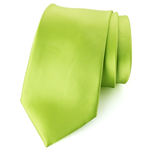 Spring Notion Men's Solid Color Satin Microfiber Tie, Regular Lime ()