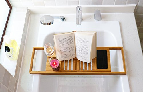 DozyAnt Bathtub Caddy Bamboo Bathtub Tray, Made Of 100% Premium Bamboo With Extending Sides, Reading Rack, Tablet Holder, Cellphone Tray & Integrated Wine Glass Holder
