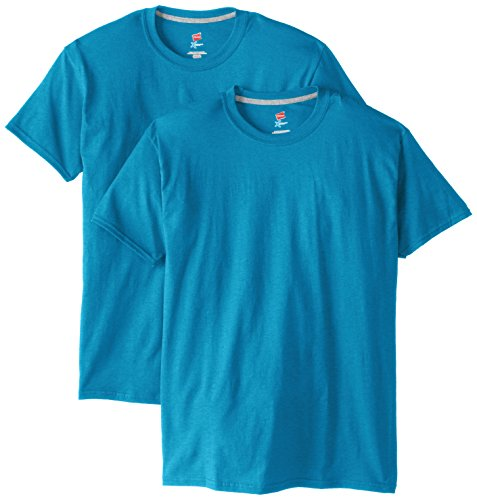 Hanes Men's 2 Pack X-Temp Performance T-Shirt, Neon Blue Heather, Medium