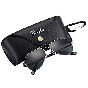 Pro Acme Small Polarized Aviator Sunglasses for Adult Small Face and Junior,52mm (Gunmetal Frame/G15 Lens)