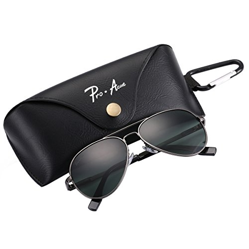 Pro Acme Small Polarized Aviator Sunglasses for Adult Small Face and Junior,52mm (Gunmetal Frame/G15 - Eyeglass To Face Frames Face