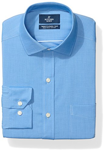 BUTTONED DOWN Men's Tailored Fit Stretch Poplin Non-Iron Dress Shirt, French Blue, 16.5