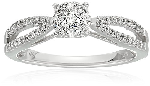 Composite Diamond In 14k White Engagement Ring (3/8cttw, H-I Color, I2 Clarity), Size 7