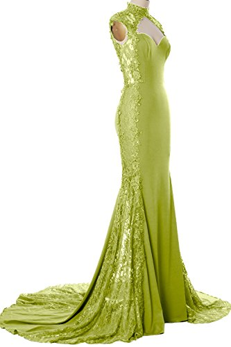 MACloth Women Mermaid High Neck Long Prom Dress Lace Jersey Formal Evening Gown Verde Oliva