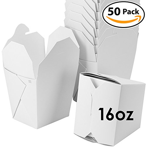 UPC 817244025429, Microwavable White Chinese 16 oz Take Out Boxes. 50 Pack by Avant Grub. Stackable Pails Are Recyclable. Ideal Leak And Grease Resistant Pint Size To Go Container For Restaurants and Food Service.