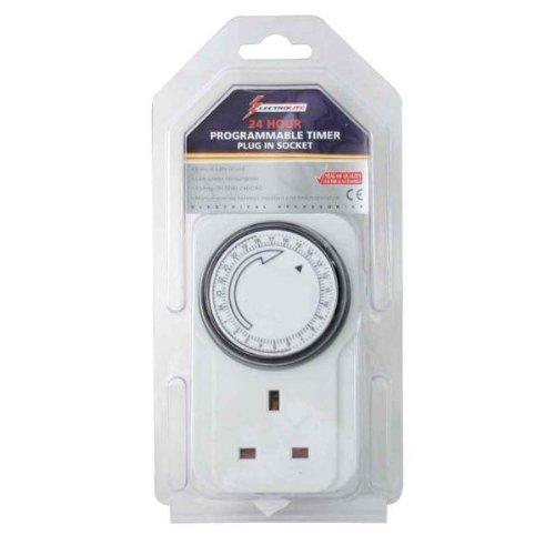 Plug-in Timer Home, Furniture & DIY 24 Hour Programmable 3 Pin UK Main Wall Home Plug Socket