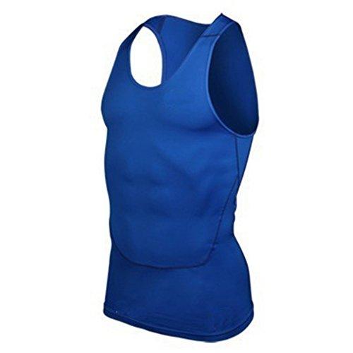 Urparcel Men Quick Dry Wicking Tank Top Gym Run Sports Vest Solid Shirt Blue