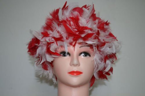 White/Red Chandelle Feather Costume Wig Halloween Costume Coque Feather Wigs (Atlanta, GA)]()