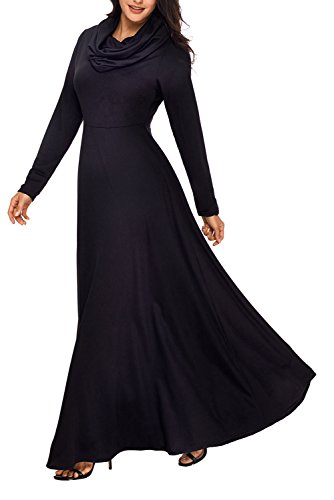 Pleated Cowl Neck Dress (AlvaQ Women's Fall Casual Cowl Neck Long Sleeve High Waisted Pleated Swing Maxi Long Dress Large Plus Size Black)
