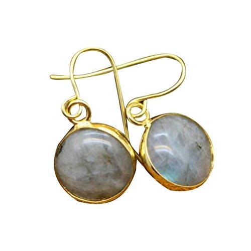 Wintefei Fashion Agate Round Charming Women Faux Pendant Drop Hook Earrings Jewelry Gift - Labradorite