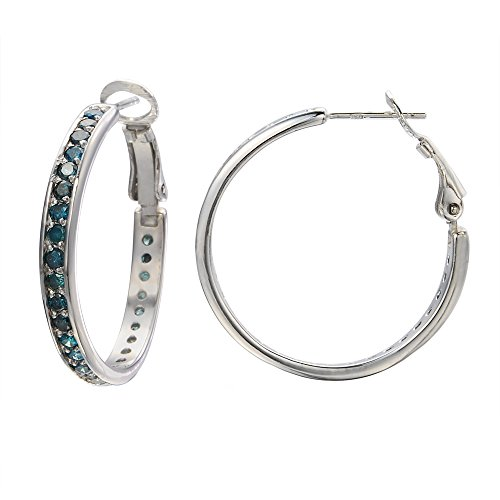 2 CT Blue Diamond Hoop Earrings In Sterling Silver