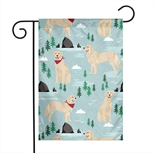 Holiday Seasonal Yard Garden Flags Golden Retriever Cannon Beach Fabric Double Sided Premium Durable Bright Polyester, 12 x 18 Inch -