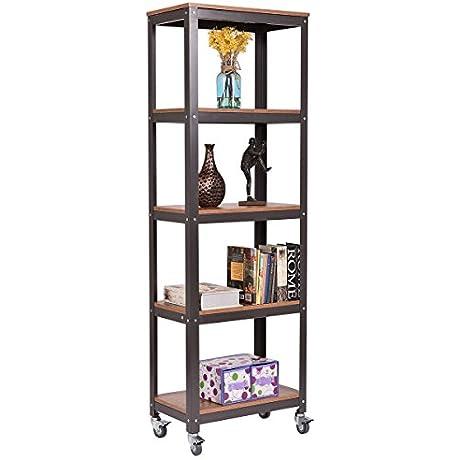 New 3Tier Rolling Bookcase Rack Display Storage Rack Shelves Metal Wood Home Office