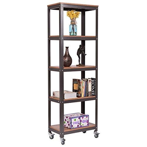 New MTN-G 5 Tier Rolling Bookcase Rack Display Storage Rack Shelves Metal Wood Home Office