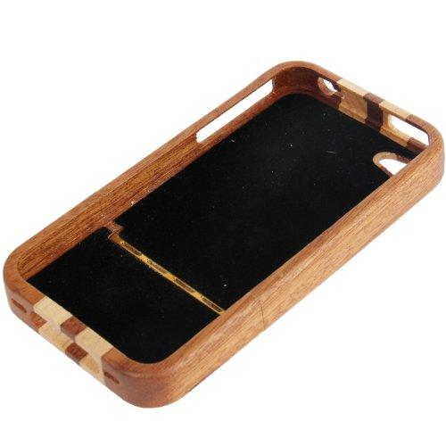 "Original THESMARTGUARD iPhone 4S / 4 Holzhülle im ""2-Stripe-Style"" - braun"