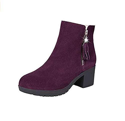 Eeayyygch High Heels Heels Heels Dicker Absatz Stiefelies Quaste Doppelreißverschluss Sandalen Stiefel mit nackten Stiefeln Dicke Stiefeletten (Farbe   Rotwein, Größe   39) e8bdd2