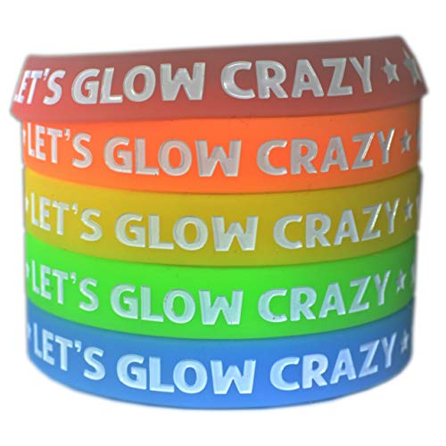 Let's Glow Crazy Glow in The Dark Bracelets Silicone Neon Party Favors