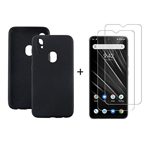 MISIDE Case for UMIDIGI S3 PRO Case,with UMIDIGI S3 PRO Screen Protector.3 in 1 Scratch Resistant Slim Fashion Soft TPU Shockproof Case + 9H Tempered Glass Screen Protector(Black) ()