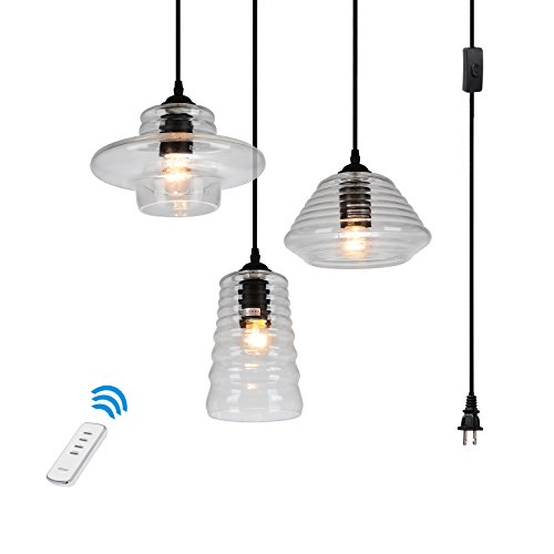 HMVPL 3-Lights Vintage Glass Pendant Light with 16 Ft Plug-in Hanging Cord and 60 Yards Remote Control, Classic Rustic Chandelier Lighting Fixture for Entryways, Dining Room (Max - Cord 16' Pendant