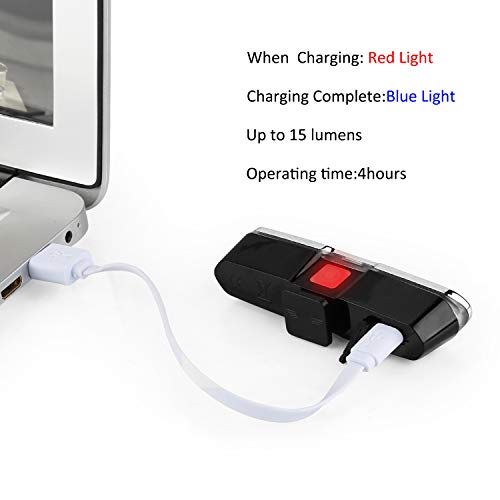 Red /& White TG-TECH Ultra Bike Tail Light,USB Rechargeable Bike Tail Light Powerful LED Bicycle Rear Light 5 Light Mode Headlights with Red /& Blue,Easy to Install for Cycling Safety Flashlight